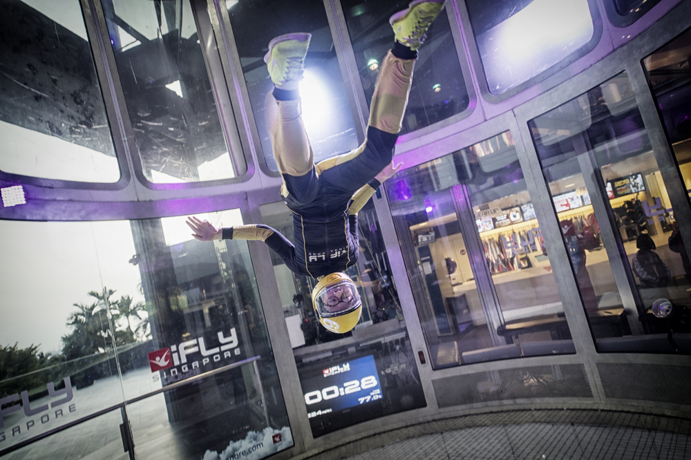 Indoor skydiving is a relatively new sport involving a vertical wind tunnel but Kyra Poh, at 13, already holds the world record for the most backwards somersaults in a wind tunnel in a minute among others.
