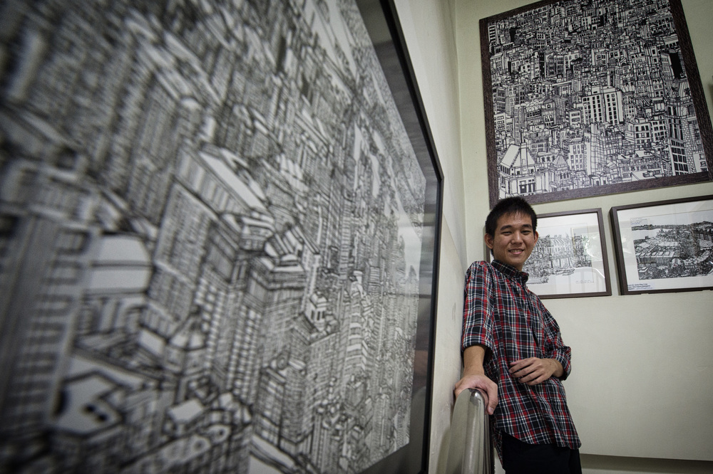 Glenn Phua was found to be autistic when he was four. His talent as an artist was discovered later when he won an art competition. His original drawings sell for as much as $5,000 each and have been auctioned at charity galas.