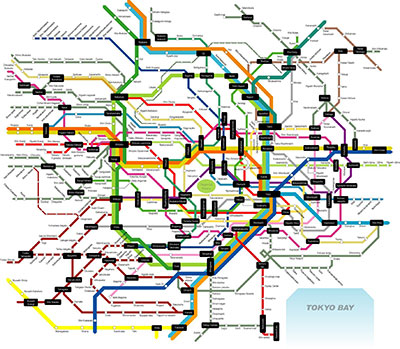 Tokyo's very complex, but fairly easy to navigate rail network