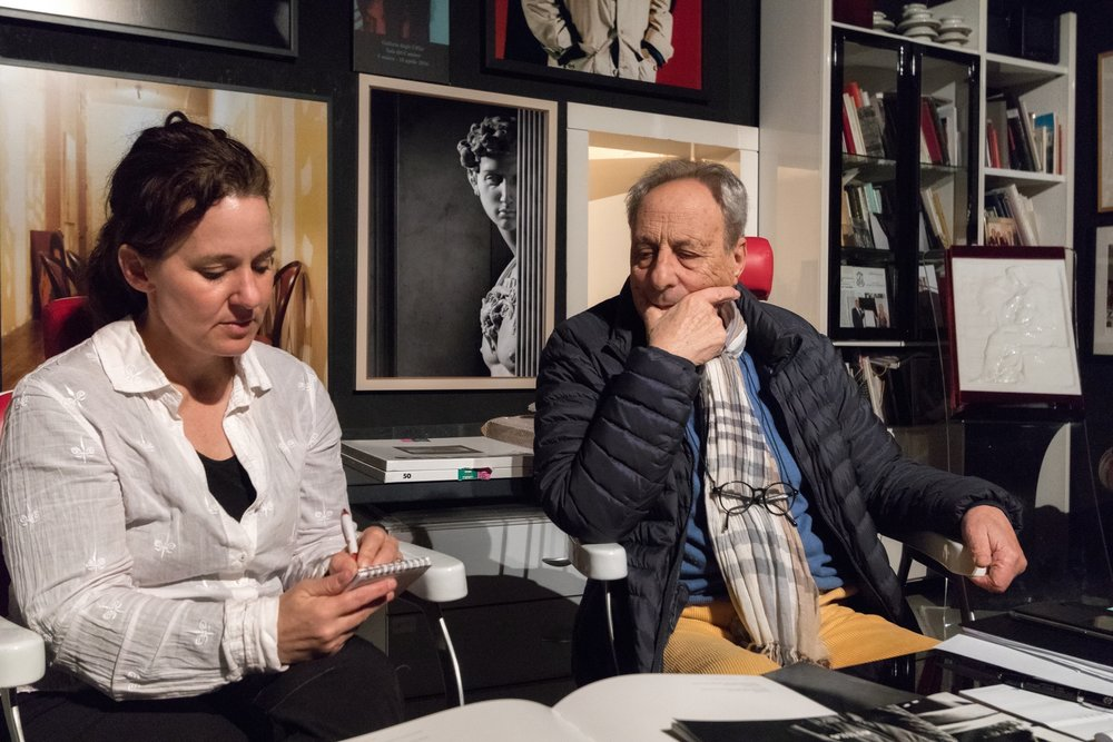 Gina Williams interviewing photographer Aurelio Amendola at his studio ©Ernesto Mangone