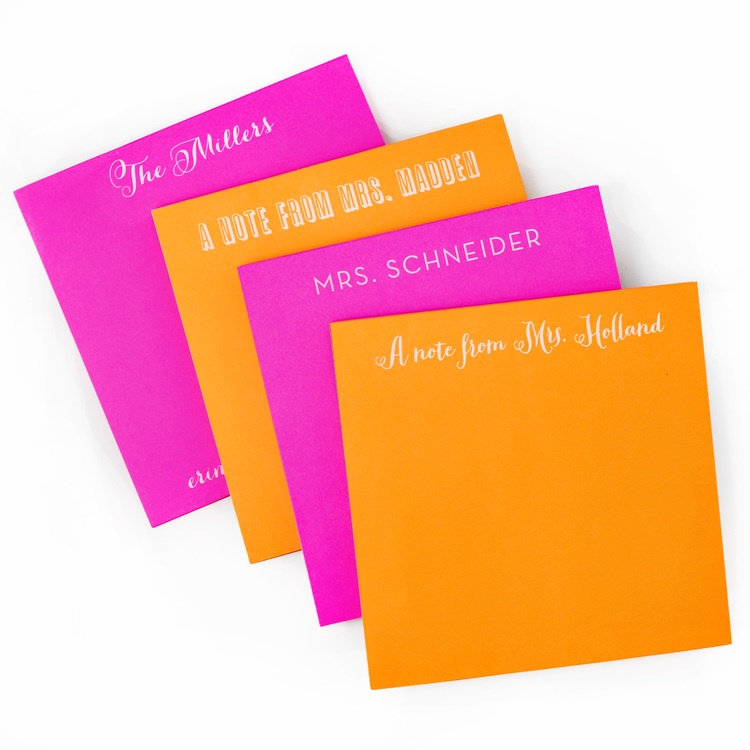 Custom Notepads Memo Pads: White On Bright Personalized Square Notepad
