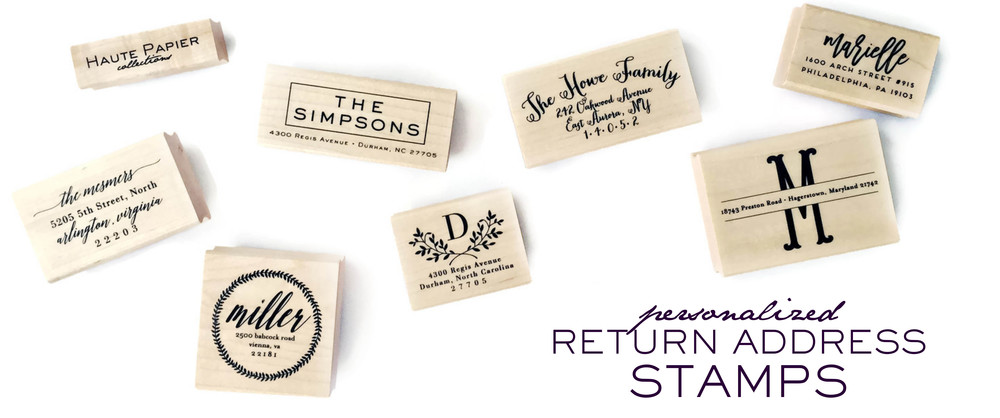 return address stamps haute papier