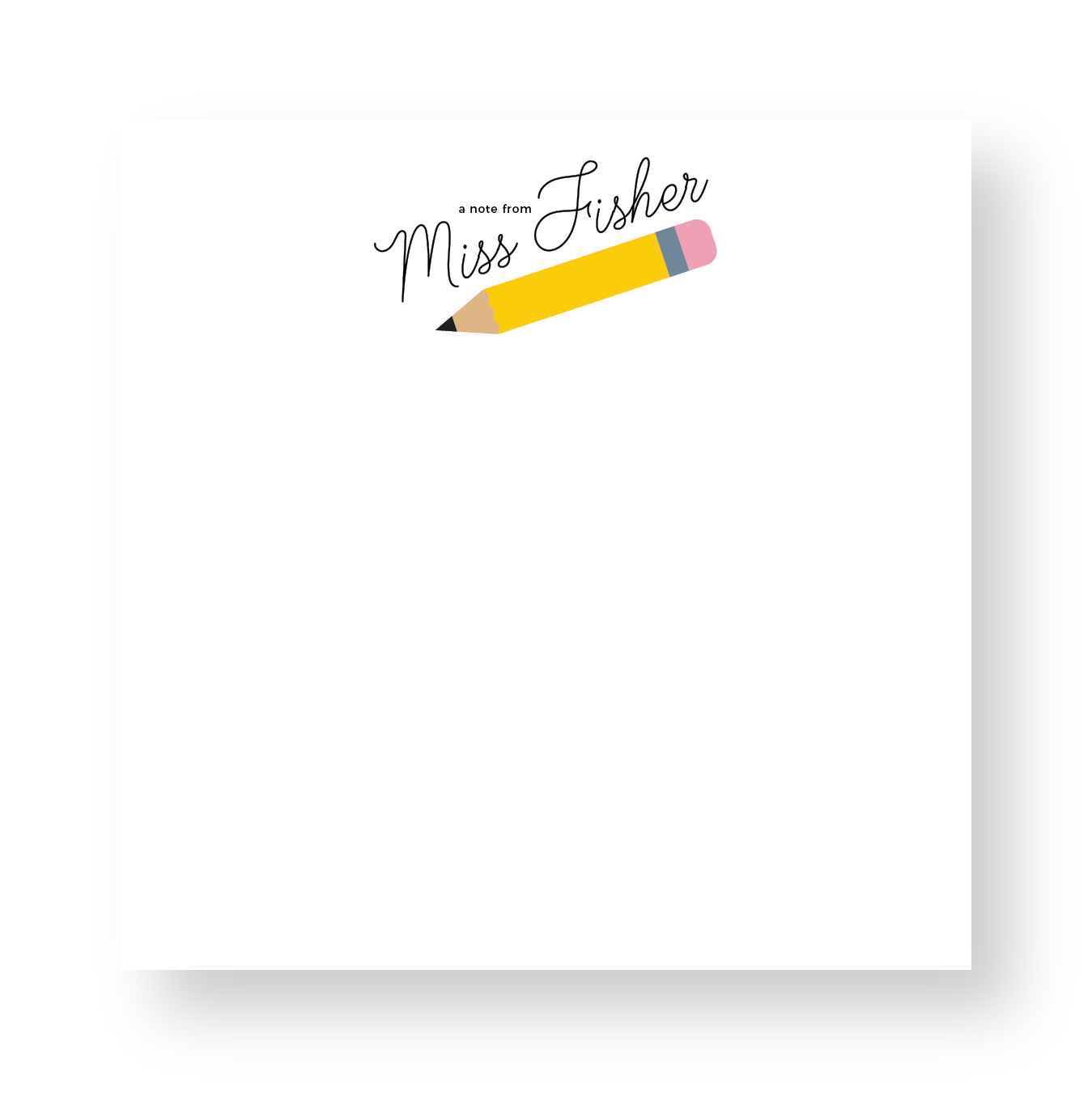 stationary Personalized Teacher Notepad Teacher Notepad Teacher Note Pad Gift A NOTE FROM stationery