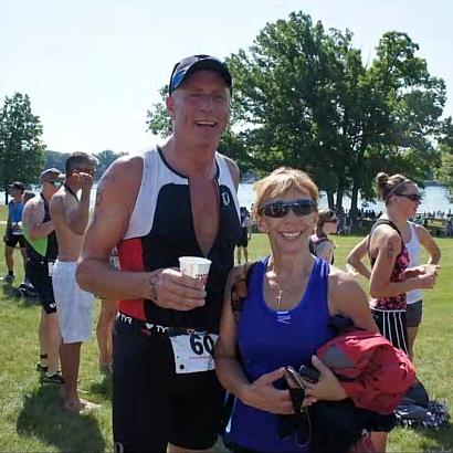 My dad after his first triathlon last year.