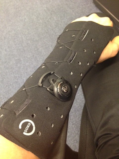 My neat waterproof, removable cast. It uses the same BOA technology that Specialized uses on their high-end shoes.