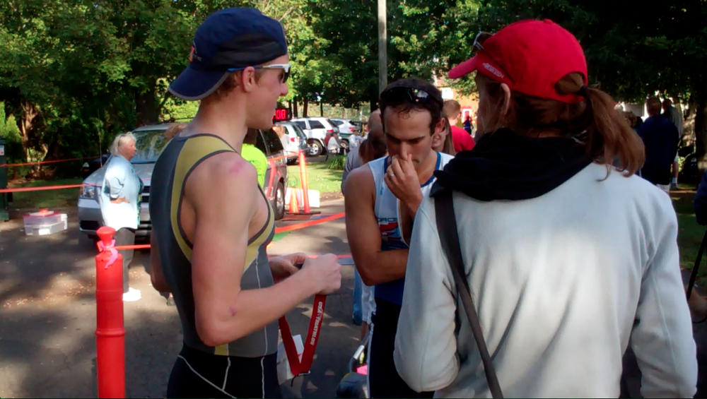 Dave Ellis and me doing a recap after the race.