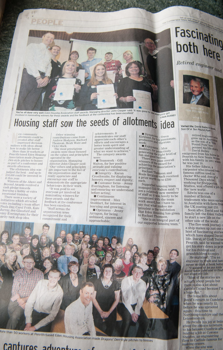 Eden Housing Awards, published in the Cumberland News