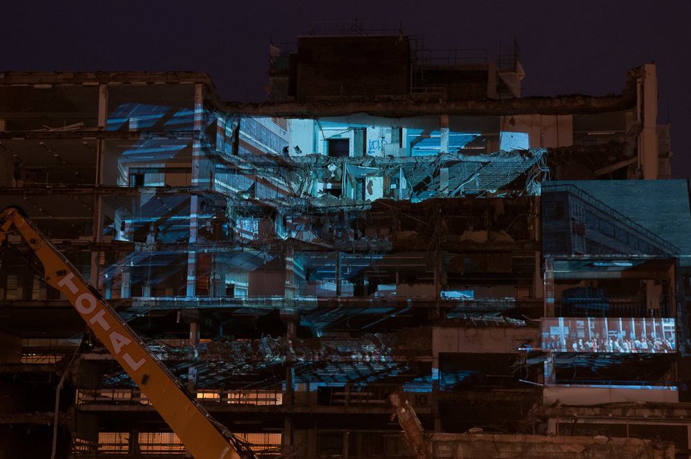 School of Architecture. New building plans projected onto a derelict building in Sheffield City Centre