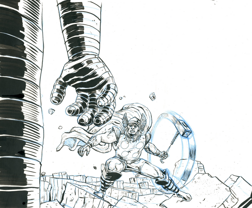 Thor rough with the first use of the blue sketching pencil