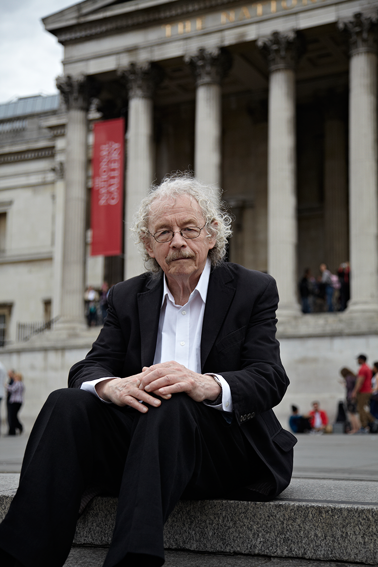 Professor Bill Hillier  of Space Syntax, sat on the steps he helped to create through Trafalgar Square.  The Bartlett Review, UCL