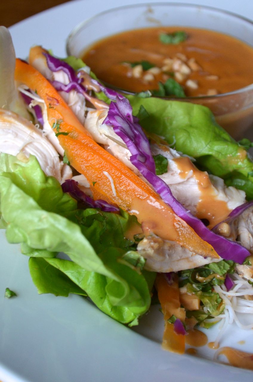Thai Peanut Rotisserie Chicken Wraps