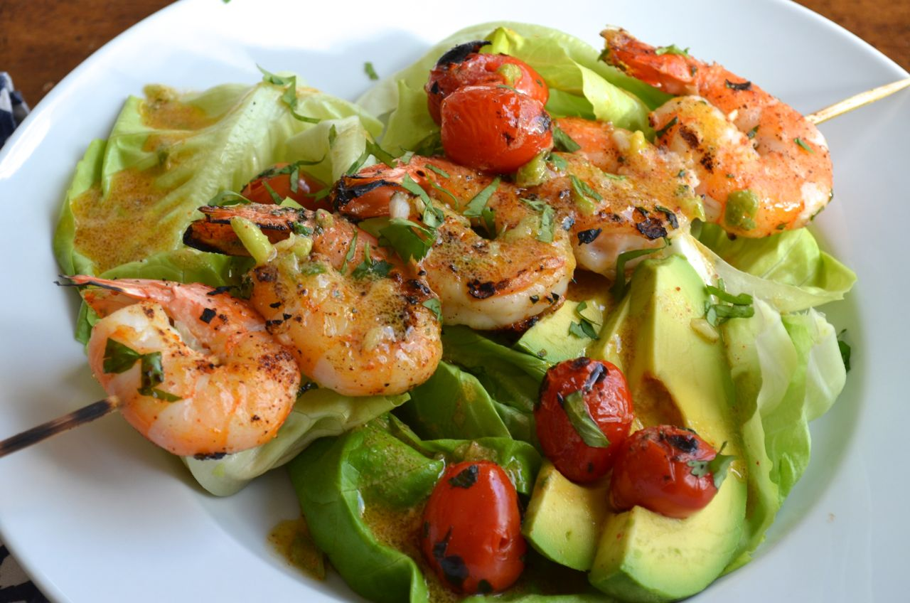 Grilled Shrimp Salad with Lemon-Chili Dressing