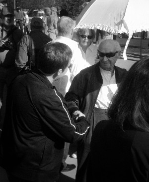 Paolo Soleri and I meet again at the dedication ceremony of his footbridge and plaza in Scottsdale, December 12, 2010