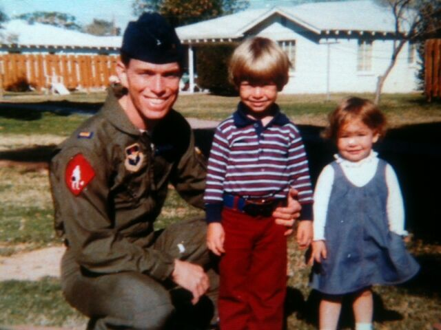 Bill Johnson with his children during his time in the Air Force. He retired after 26 years as a Lieutenant Colonel.