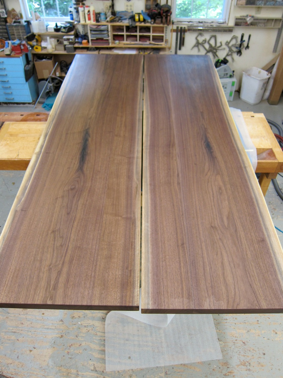 Eastern Black Walnut book-matched slab tabletop