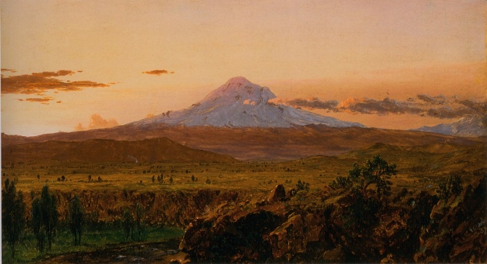 "Frederic Edwin Church, ""Mount Chimborazo at Sunset"" (detail), c. July 1857, oil on academy board mounted to canvas, 12 x 21 7/16in., Collection Olana State Historic Site, New York State Office of Parks, Recreation and Historic Preservation"