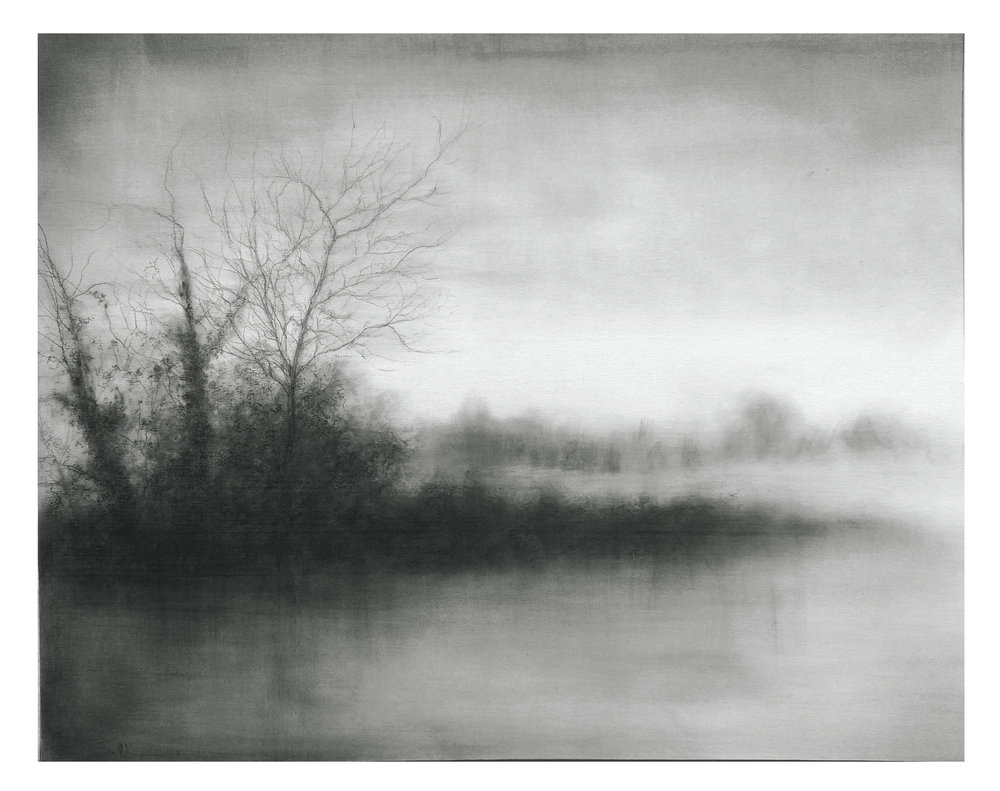 Sue Bryan ,  Water's Edge , 2018, charcoal, carbon & graphite on museum board