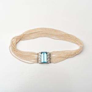 Nine Strand 18k White Gold Aquamarine and Seed Pearl Choker