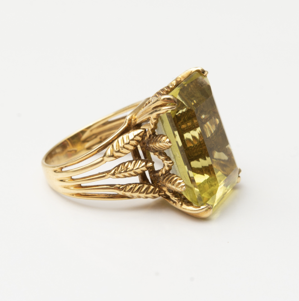 18k Gold and Lemon Citrine Ring