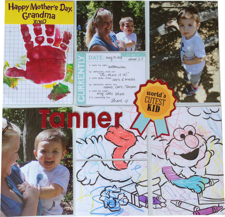 POCKET PAGES™ grandma layout with tips for creating memorable childhood scrapbook pages.