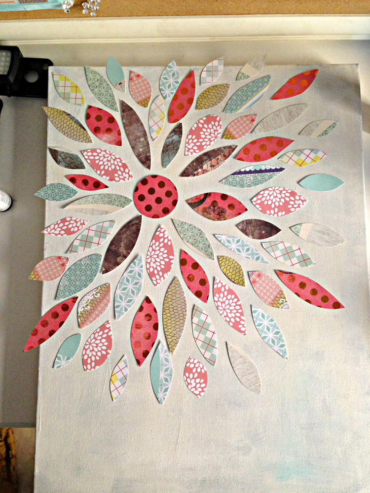 Summer crafting day 12 paper flower canvas art me my for How to make canvas painting