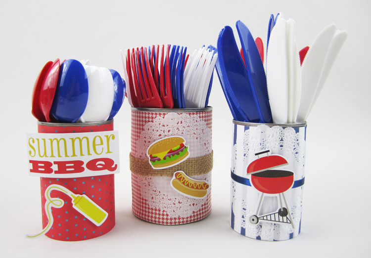 Summer BBQ prep on the mambi blog.  Silverware holders & decorated hotdogs.  Simple and cute table decor.