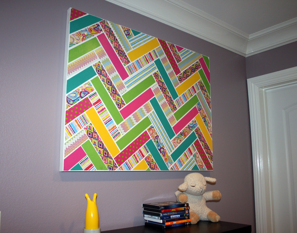 Pinterest inspired chevron patterned canvas with me & my BIG ideas Paper Pad & Pod-Podge.