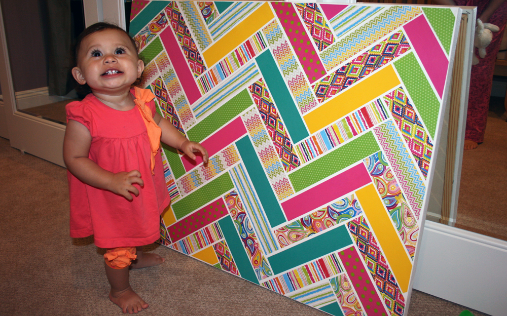 chevron patterned canvas with me & my BIG ideas Paper Pad & Pod-Podge.  TA-DA!   Best DIY, cheap & easy!
