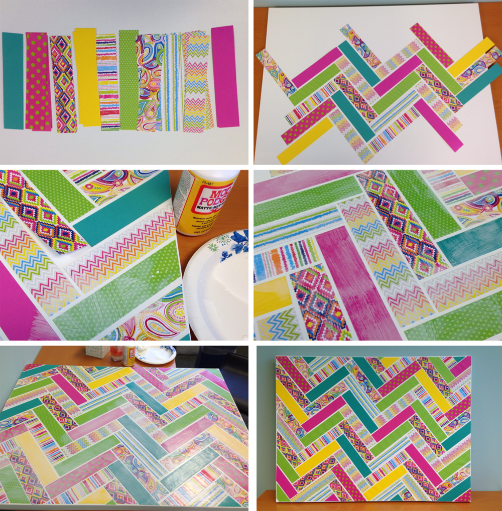 Pinterest inspired chevron patterned canvas with me & my BIG ideas Paper Pad & Pod-Podge.  DIY tutorial.