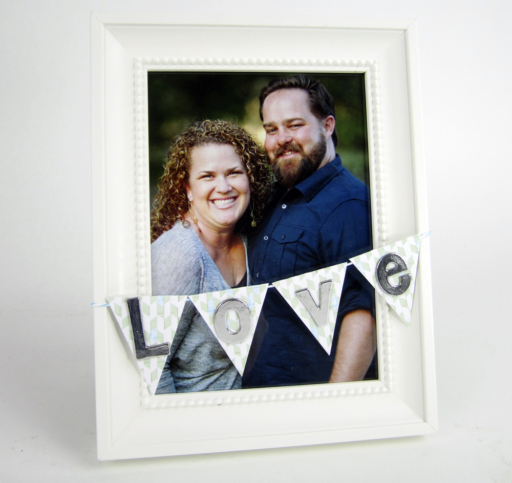me & my BIG ideas blog.  Add a banner to a frame for a great and easy gift.  mambi paper and mambi chipboard letters.  LOVE.