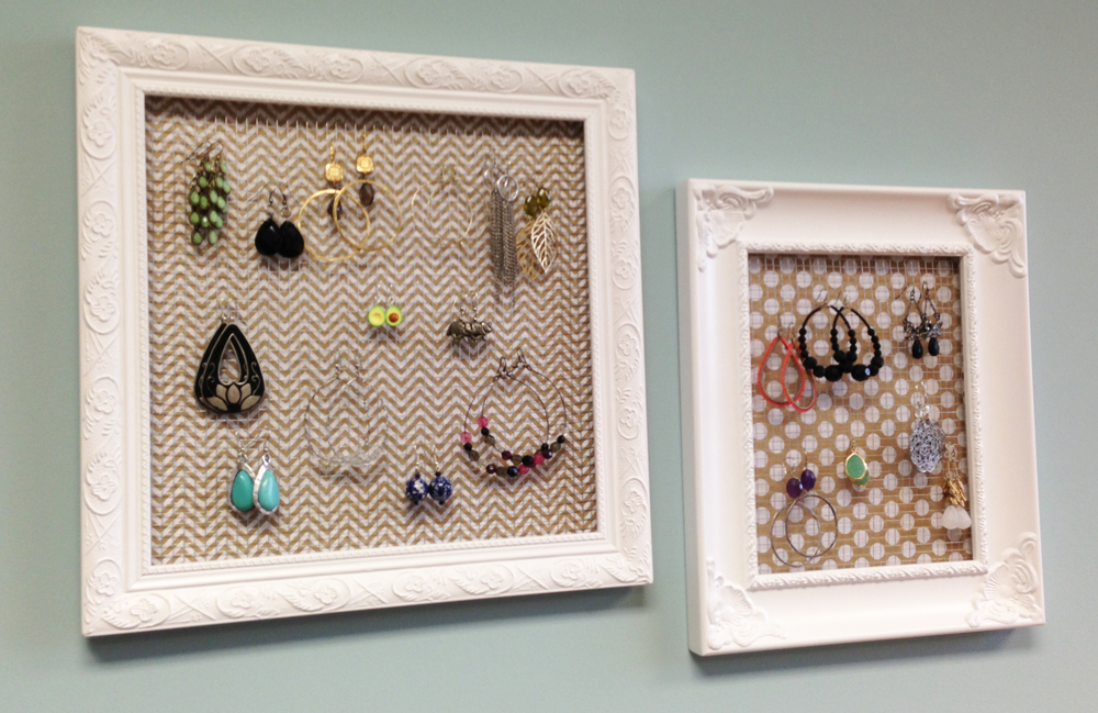 Earring holder.  Cute and easy DIY frame.