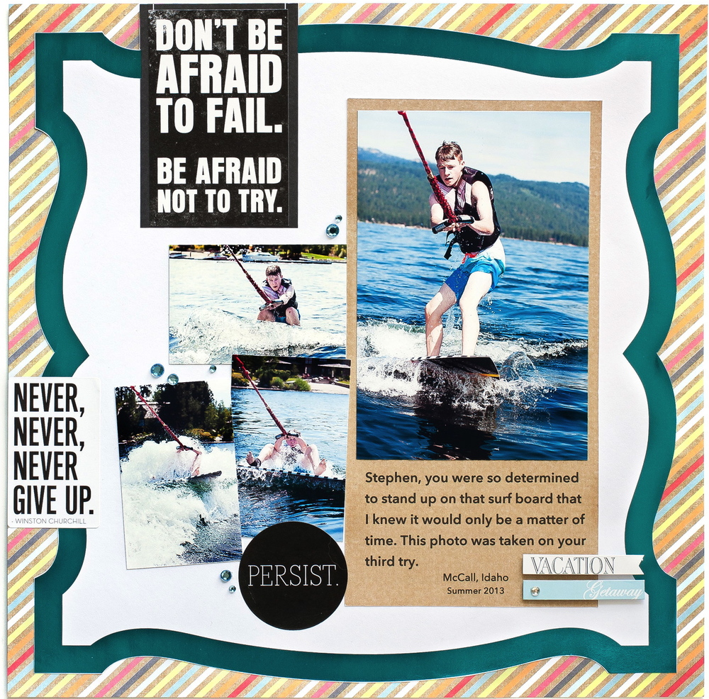 Water Skiing scrapbooking layout.  Don't be afraid to Fail mambi page.  Alice Golden artwork.  me & my BIG ideas blog.