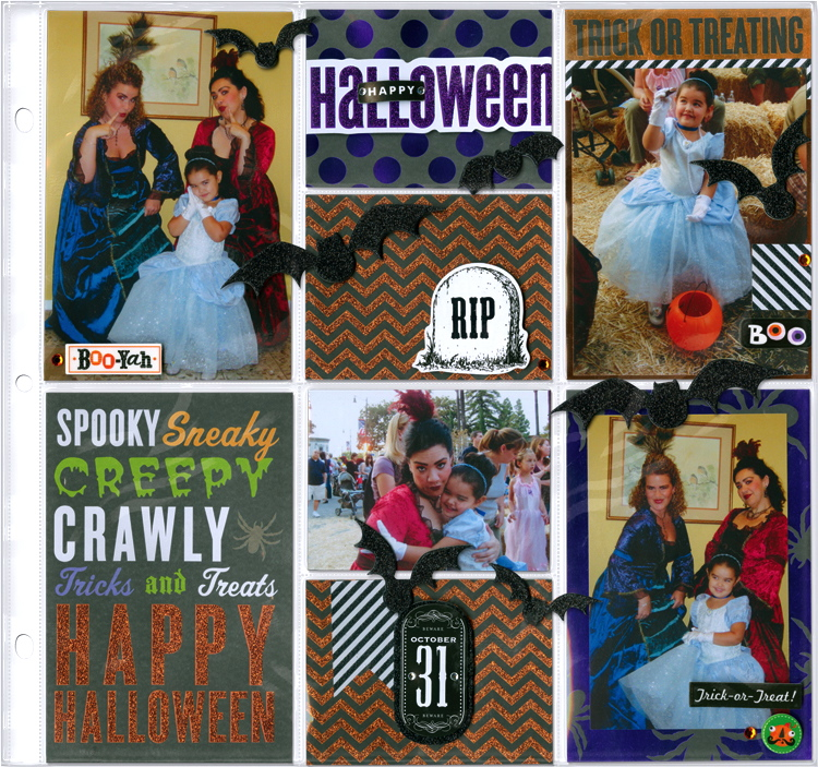 Halloween Cinderella Scrapbook layout mambi blog page.  Products available at Michaels craft stores.