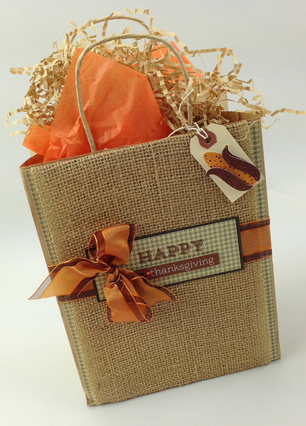 Harvest - Fall decorated bag with scrapbook mambi KIT .  Kit available at Archivers.  Burlap bag.