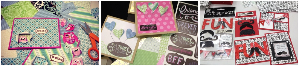Scrapfest 2013 Archivers Day 1, 2, & 3 make n takes.  Owl card, heart cards and mustache fun POCKET PAGES cards.  Will be at Archivers in October.