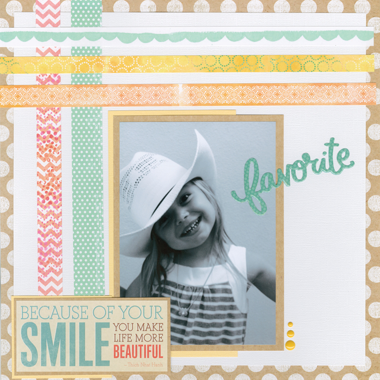 new stickers at Hobby Lobby.  smile scrapbook layout.  me & my BIG ideas stickers.  pastel page.