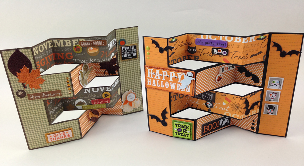 Accordion Thanksgiving or Halloween card on the mambi blog.  Tutorial and step by step.