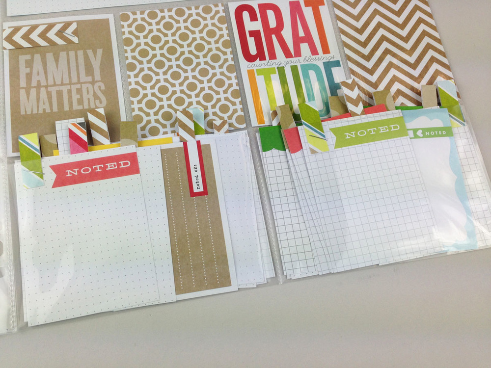 Say what you're thankful for in your POCKET PAGES scrapbook album.  Document your Thanksgiving and pre-plan your layout with Thankful cards to fill out by your family.  Slide in the pocket, so easy.