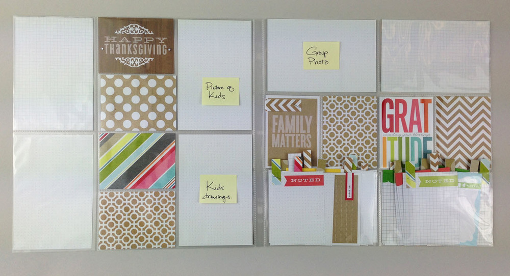 Say what you're thankful for in your POCKET PAGES scrapbook album.  Great way to document your Thanksgiving and pre-plan your layout.