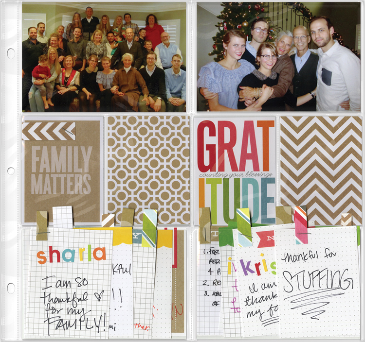 Thanksgiving POCKET PAGES layout on mambi blog. Scrapbooking layout, holiday page.
