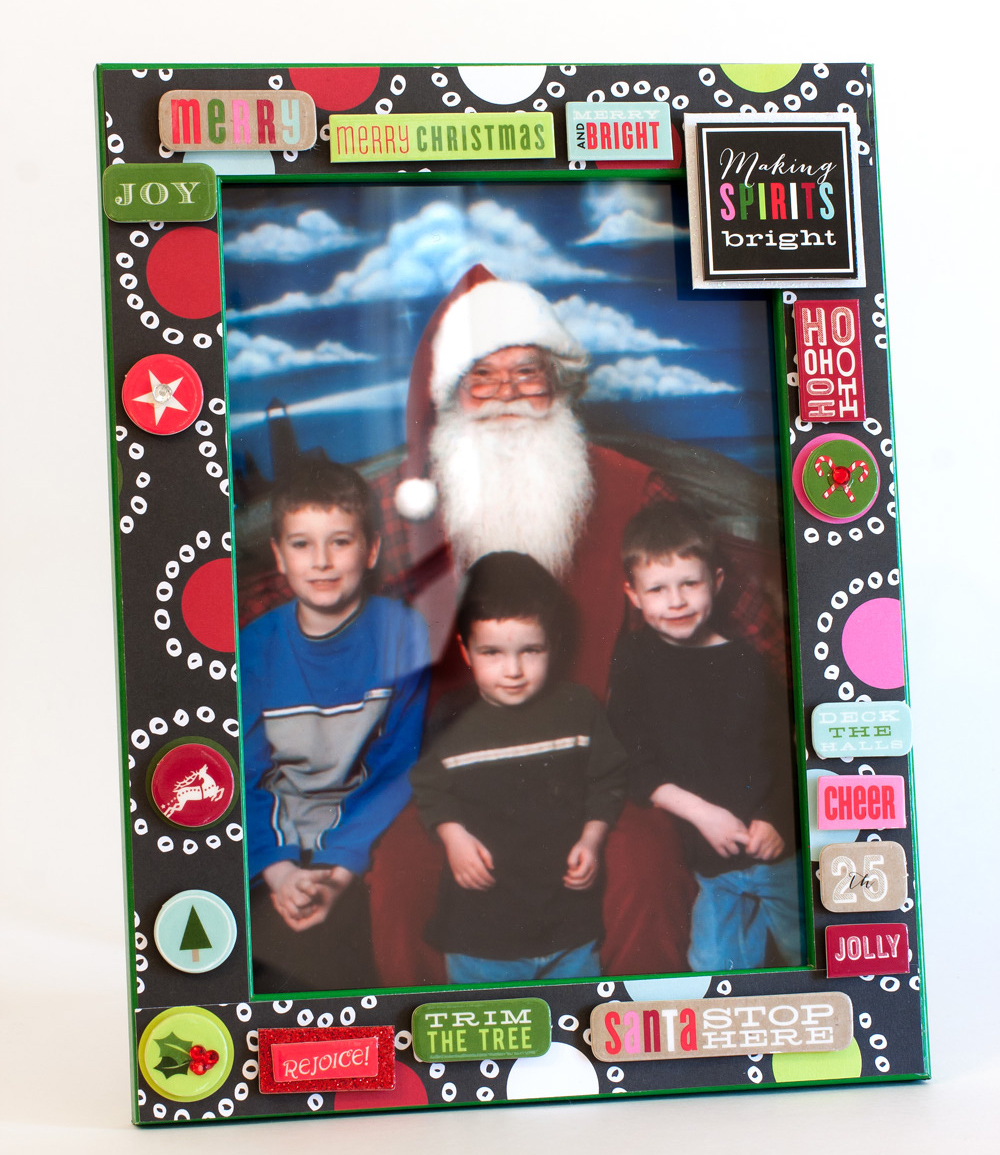 Christmas Frame made with mambi SHEETS™ and soft spoken™ embellishments.