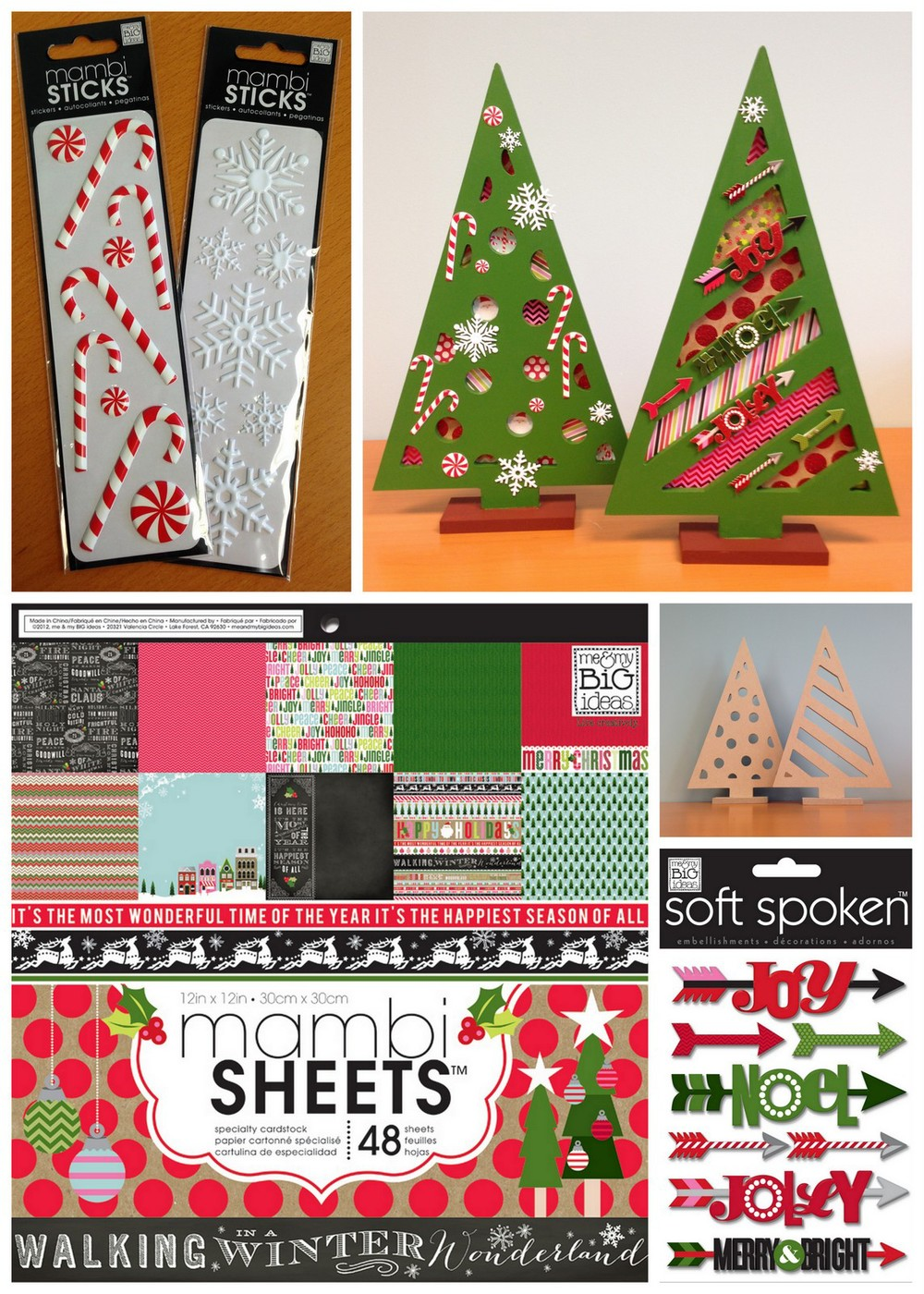 Christmas Trees from Michaels given a mambi touch with mambi SHEETS and soft spoken embellishments.