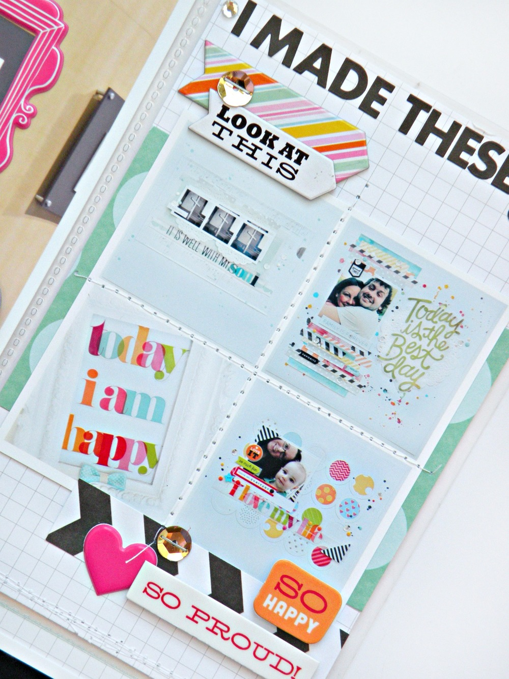 CHA layout with POCKET PAGES on the mambi blog.  'Today I am Happy' Scrapbooking layouts.