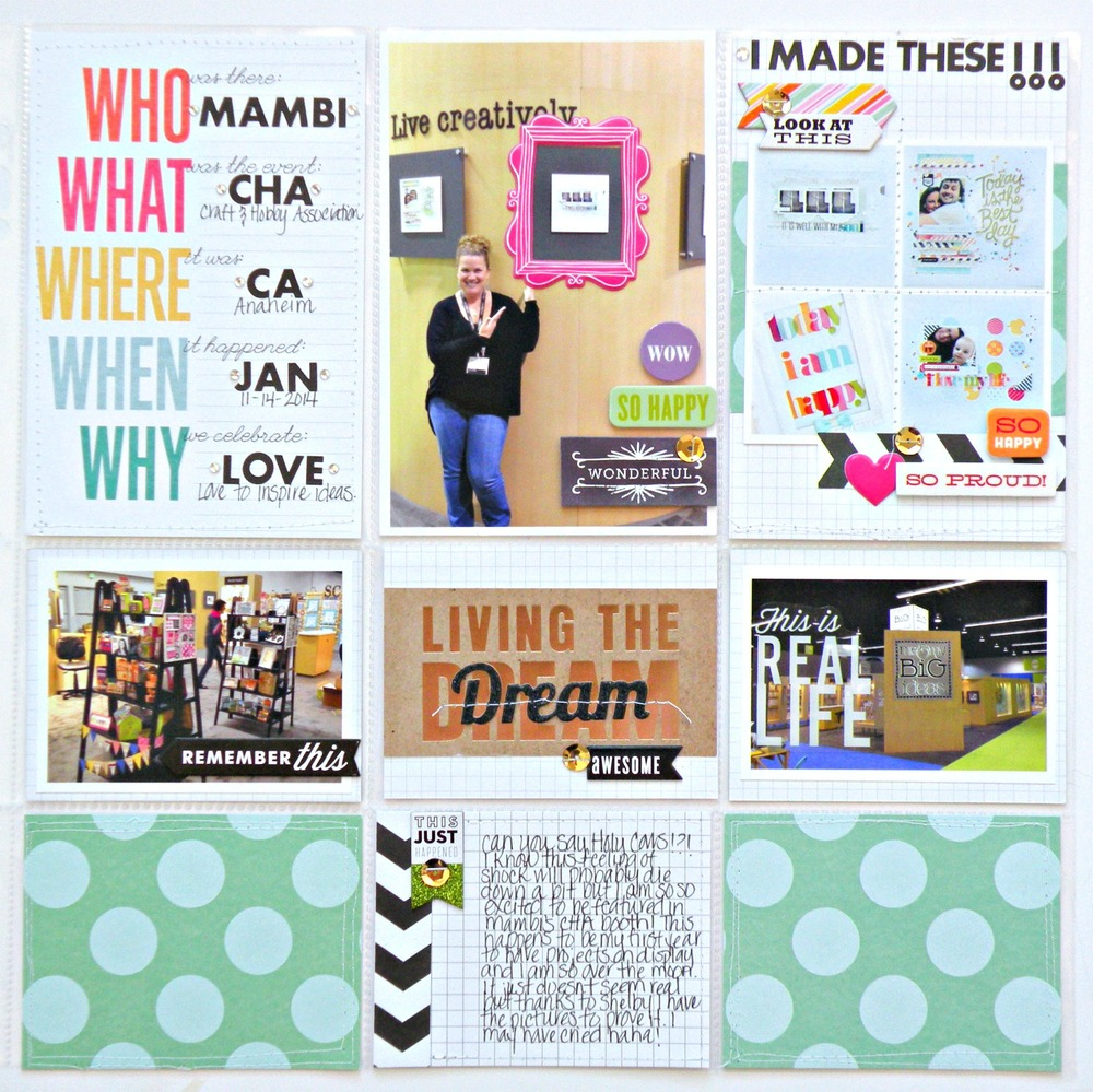 CHA layout with POCKET PAGES on the mambi blog. CHA scrapbook page, PL style.