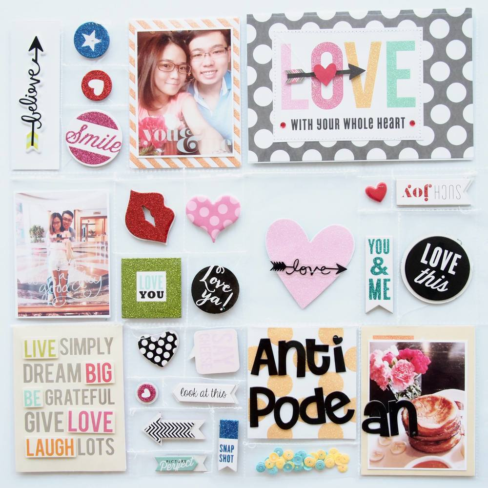 LOVE LAYOUT - POCKET PAGES front and back on clear.  Unique scrapbooking PL style.  mambi CHIPS and embellishments on mambi blog.