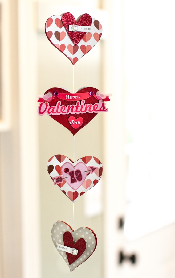 Valentines garland, DIY with mambi scrapbooking goodies.