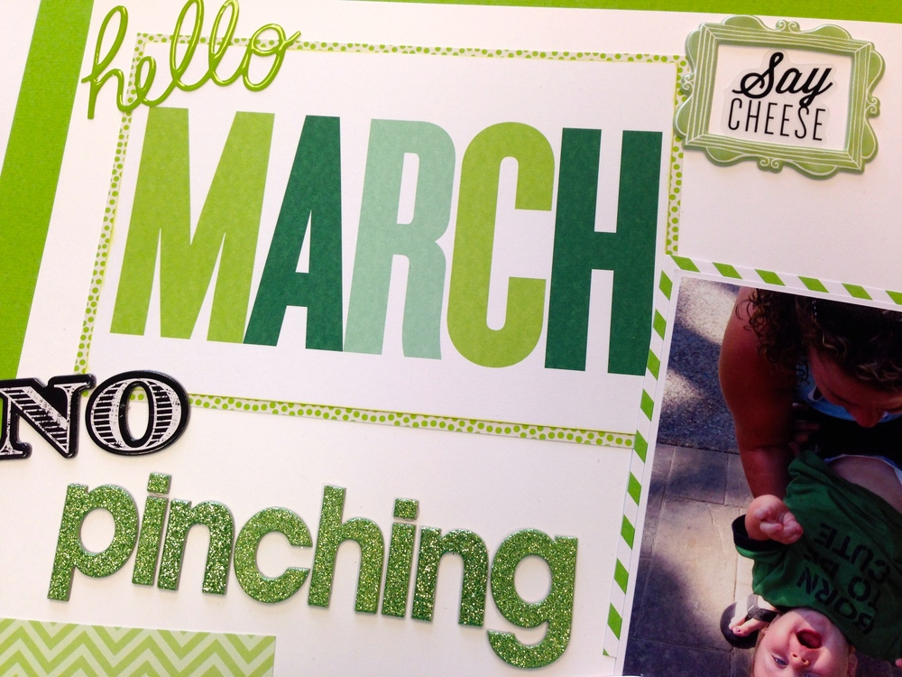 No pinching St. Patrick's Day scrapbook page on the me & my BIG ideas blog.