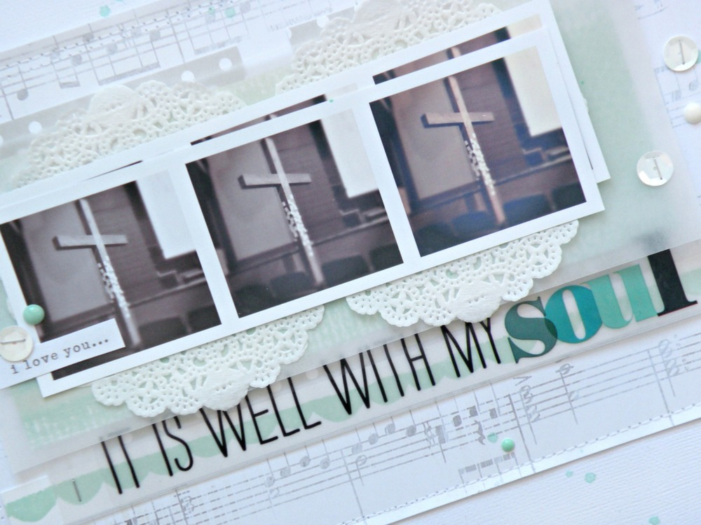 All is well religious scrapbook layout b Steph Buice on the mambi blog.  Features new mambi stickers at Michaels.