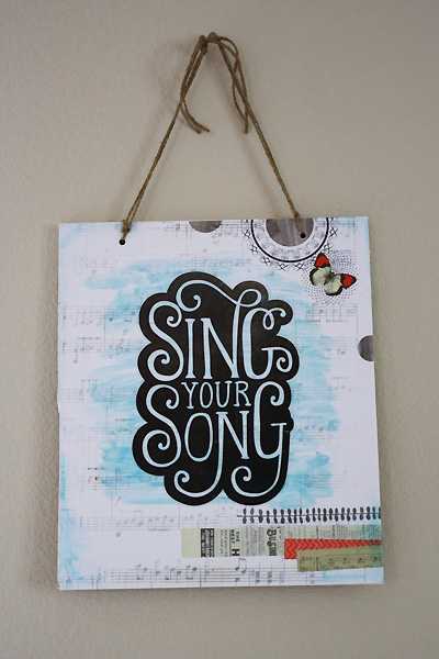Plaque- Sing Your Song DIY project with mambi stickers.  me & my BIG ideas.