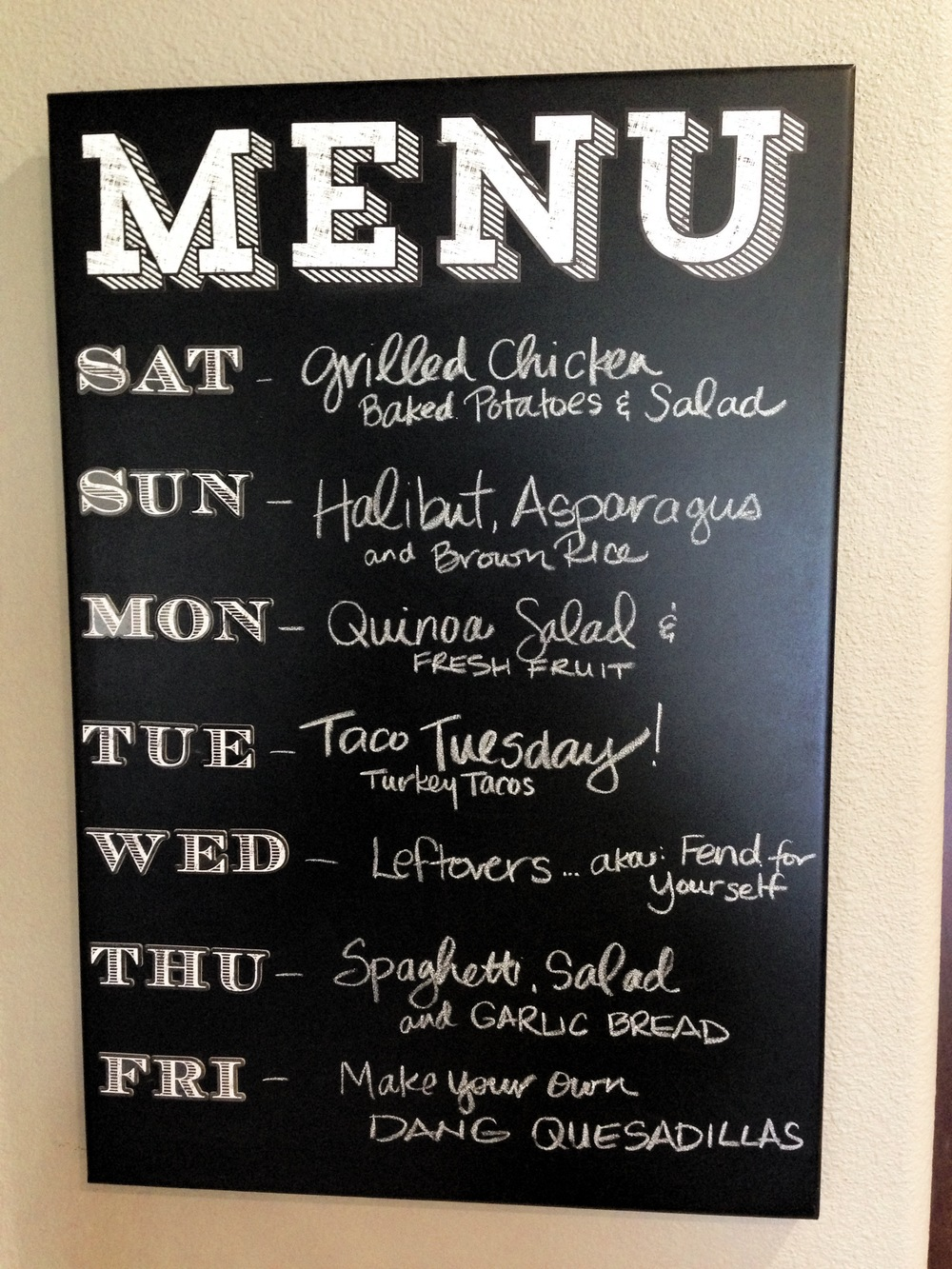Chalkboard menu made easy me my big ideas for Kitchen chalkboard designs